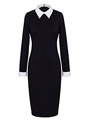 Anni Coco Women's Peter Pan Collar Wednesday Addams Black Pencil Business Dress