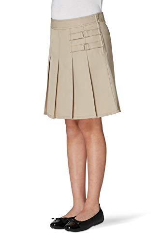 - French Toast Little Girls' Two-tab Pleated Scooter, Khaki, 5