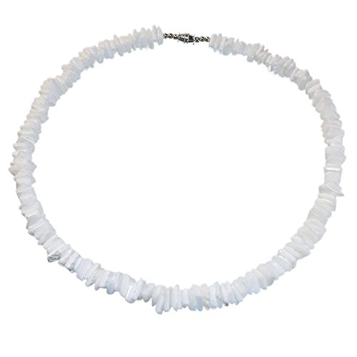 Cut Necklace Shell Necklaces - Hawaiian 6mm White Square Cut Puka Shell Necklace with Lobster Lock (18 IN)