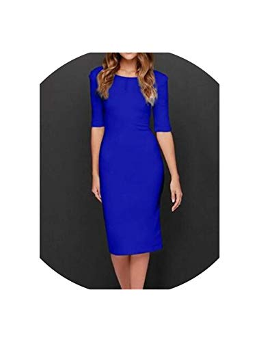 awret Summer Party Dresses Casual Solid Colors O Neck Half Sleeve Midi Dress Fashion Sexy Bodycon Backless Dress Vestidos,Blue,L