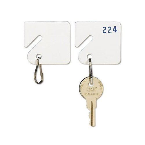 MMF Industries Slotted Rack Key Tags, Plastic, 1.5 Inch Height, White, 20 per Pack (201300006), 2 Packs Size: 2 Packs, Model: MMF201300006, Office Shop