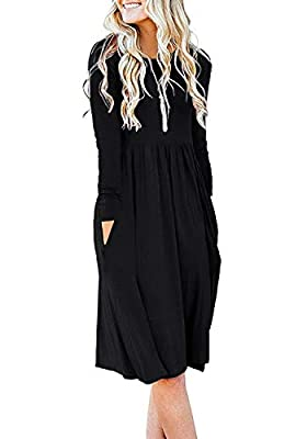 DB MOON Women's Casual Long Sleeve Knee Length Empire Waist Dress with Pockets