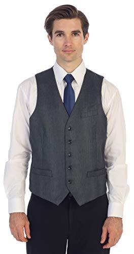 Gioberti Men's 5 Button Slim Fit Formal Herringbone Tweed Suit Vest, Gray Houndstooth, 3X Large