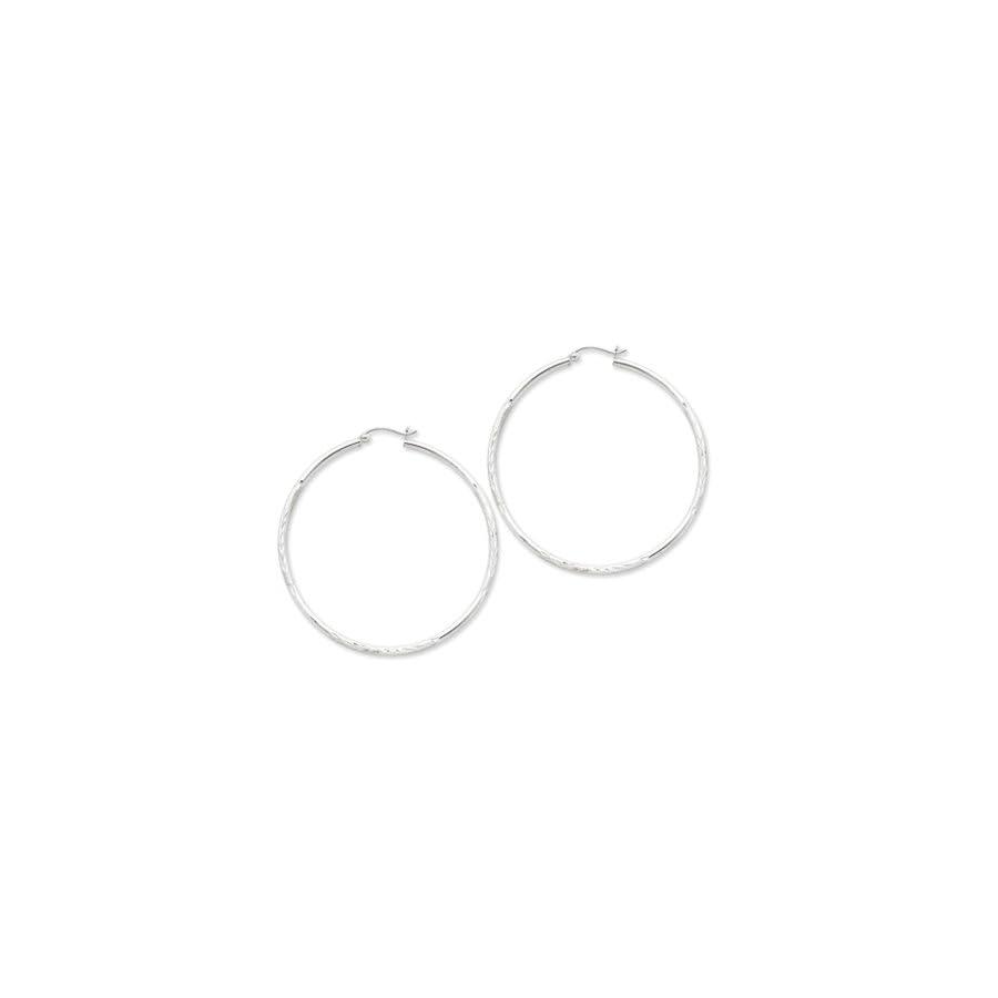 2mm, Satin, Diamond Cut, XL Sterling Silver Hoops 80mm (3 1/8 Inch)