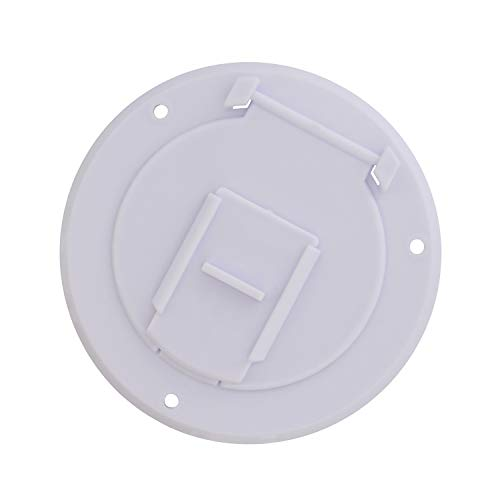 (Dumble Round Electric Cable Hatch for 30 Amp RV Electric Cord - RV Camper Electric Cord Cover, White)