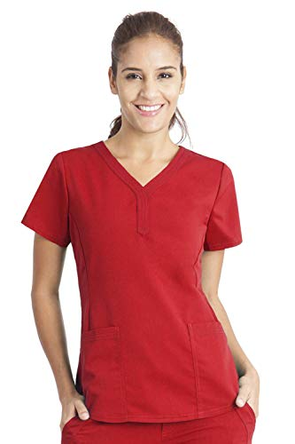 Purple Label by Healing Hands Scrubs Women's Jane V-neck 2 Pocket Top, X-Large - Red (Poly Scrub)
