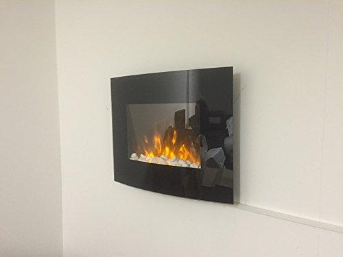 Tooltime - Estufa de pantalla para pared con efecto chimenea (cristal, 1,8 kW, 7 luces de fondo LED), diseño curvado, color negro: Amazon.es: Hogar