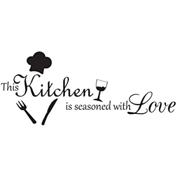 This Kitchen Is Seasoned With Love Vinyl Wall Decal Quotes Wall Stickers  Kitchen Decals Home Decor