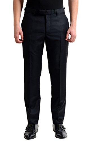 Dior 100% Virgin Wool Black Flat Front Men's Dress Pants