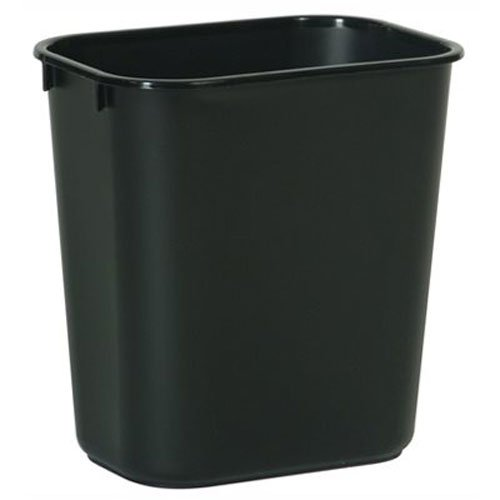 Rubbermaid Commercial FG295600BLA Plastic Deskside Wastebasket, 28-1/8-quart, Black (Quart Wastebasket)