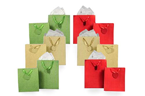 Metallic Glitter Gift Bag Assortment 2 Sizes 12 Bags Featuring Satin Ribbons, Gift Tags, Tissue Paper (Red, Green, Gold)