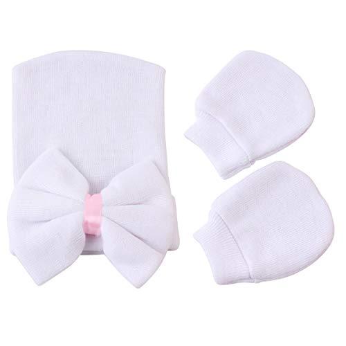 Tabpole Baby Girl Hat & Wanten Set Leuke Strik Hospital Hat Beanie Cap en Wanten Handschoenen