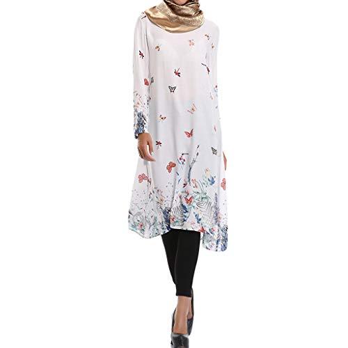 - Kinglly Muslim Womens Long Kaftan Boho Print Jersey Flowy Casual Abaya Gown Maxi Dress White