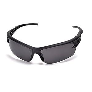 Fashion Sports Sunglasses for Baseball Cycling Fishing Golf Tr62 Superlight Frame (Black, Black)