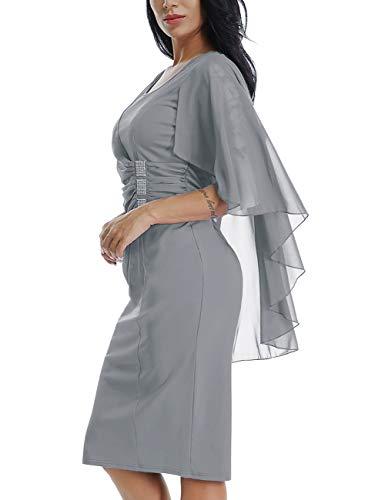5922f2ca94a19 Lalagen Womens Chiffon Plus Size Ruffle Flattering Cape Sleeve Bodycon  Party Pencil Dress S-XXXL