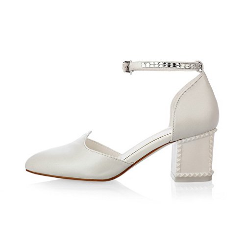 Toe VogueZone009 Sandals Solid Buckle PU Heels Kitten Women's Closed White CSvCqB0