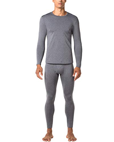 (LAPASA Men's Thermal Underwear Long John Set Fleece Lined Base Layer Top and Bottom M11 (Small, Midweight Dark Grey))