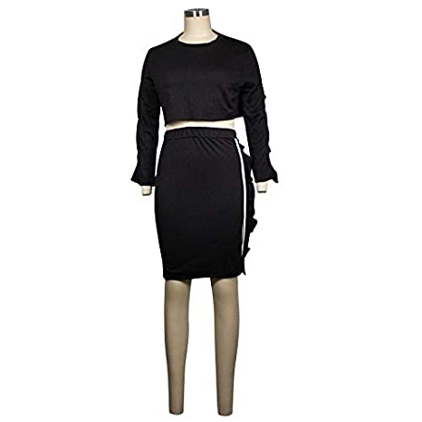 Bodycon Split Midi Club Dress Side Straped Flared Long Sleeve Crop Top Womens Casual 2 Piece Outfits