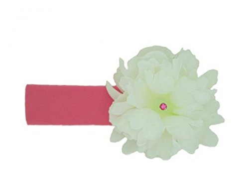 Jamie Rae Hats Candy Pink Soft Headband with White Small Peony, Size: 0-12m