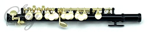 Sky Band Approved Black Laquer with Gold Keys Piccolo Key of C with Hard Case, Cloth, Cleaning Rod, Joint Greasae and Screw Driver, Guarantee Top Quality Sound