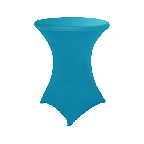Haorui 30 inch Highboy Cocktail Round Fitted Stretch Spandex Table Cover Cloth for Party Wedding Turquoise