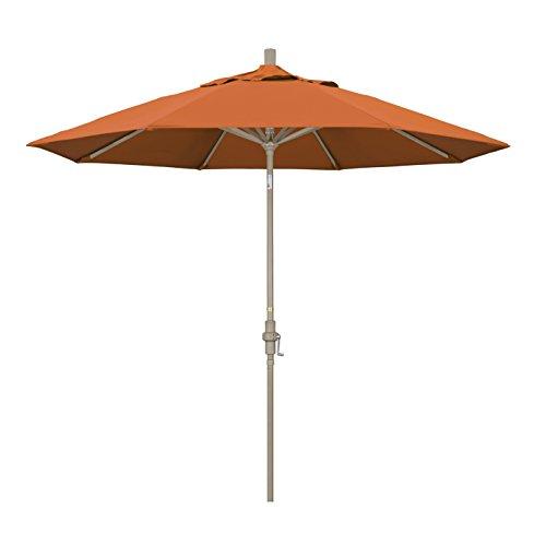 California Umbrella 9' Round Aluminum Market Umbrella, Crank Lift, Collar Tilt, Sand Pole, Pacifica Tuscan