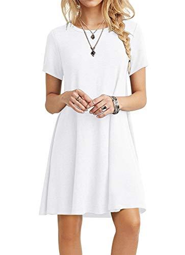 POPYOUNG Women's Casual Summer Dresses Tshirt Beach Dress Small, White