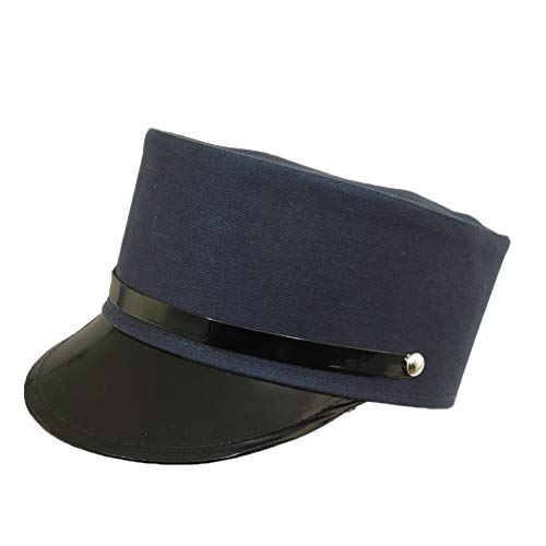 Jacobson Hat Company Navy Blue Engineer Train Conductor Hat Cap with Black Vinyl - Military French Hat