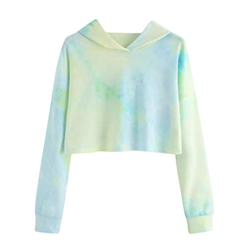 Sunhusing Women's Hipster Tie-dye Print Long Sleeve Mini Short Sweater Hoodie Pullover Green