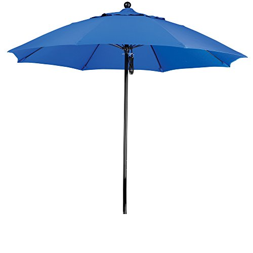 California Umbrella 9 Round 100 Fiberglass Frame Market Umbrella, Push Lift, Black Pole, Sunbrella Pacific Blue