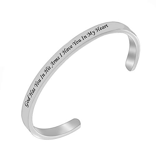 RUNXINTD Memorial Bracelet Sympathy Gift God has You in his arms,I Have You in My Heart Bracelet Loss of Loved One Bracelet,Remembrance Cuff Bracelet (Silver-Cuff Bracelet) (Gifts In Remembrance Of A Loved One)