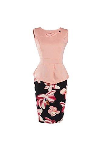 De 1940 Vintage de las mujeres falso 2 piezas Bodycon Peplum Vestido Pink