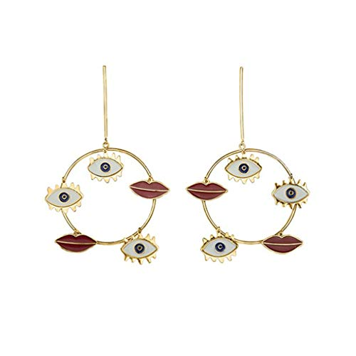 (❤️Jonerytime❤️Fashion Women Bohemia Hollow Earrings Metal Alloy Vintage Geometric Hollow Out Earring Gold )