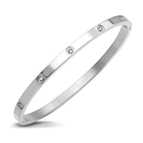 - 555Jewelry Womens Classic High Polish Stainless Steel Sparkling Cubic Zirconia CZ Hypoallergenic Fine Fashion Girls Jewelry Accessory Hinge Lock Love Cuff Bangle Bracelet, Silver