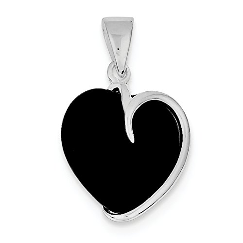 ICE CARATS 925 Sterling Silver Black Onyx Heart Pendant Charm Necklace Love Fine Jewelry Gift Set For Women Heart