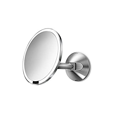 simplehuman 8 inch Wall Mount Mirror - rechargeable Sensor-Activated Lighted Vanity Mirror, 5x Magnification