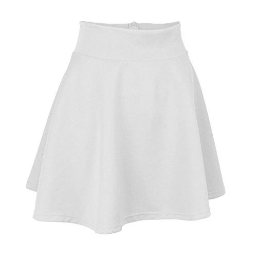 Court P Patineuse Rtro Jupe Midi Prettyia Multi Jupe Basique couleurs Elastique Fille Femmes Plisse Blanc zrzq1Y