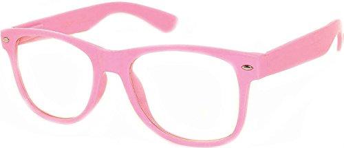 Nerd Retro 80's Vintage Sunglasses Pink Frame Clear Lens Owl - Nerd Glasses Pink