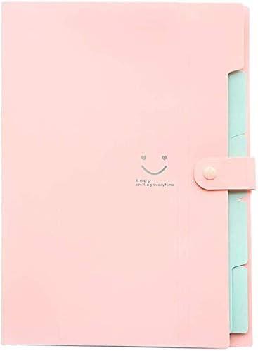 WZJN Ordner A4 Dokument neu Tasche Tasche Bill Ordner-Halter-Organisator Fastener Bürobedarf Document Organizer Binder carpetas Smiley Mehrschichtige (Color : Pink)