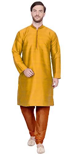 - Kurta Pajama for Men Long Sleeve Kurta Pyjama Set Indian Wedding Clothing (XL - Chest : 44 inches, Gold)