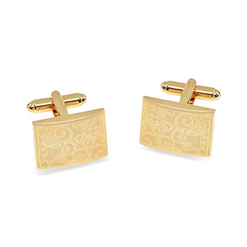 JewelsiQ Cufflinks for Men 14k Gold Plated Rectangle Shaped Laser Engraved Elegant Design (Gold, Brass)