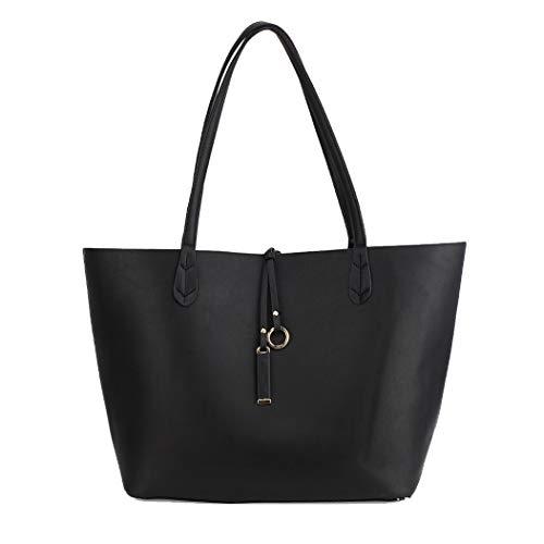 Gorgeous Reversible Black/Grey Grab Shoulder Handbag FREE UK DELIVERY