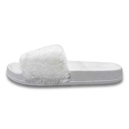 MStar Damen Hausschuh Weiche Flache Sandalen Flauschige mit Süßer Plüsch Pantoffel Outdoor/Indoor in 5 Farben Weiße