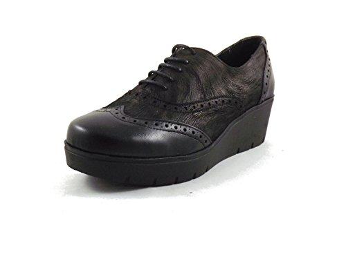 Tallas Plataforma tipo Zapato cm blucher Negro 4 Nuevo cordones con coco piel mujer sport corrida wSaxqZx16