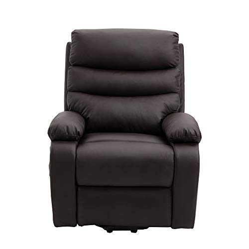 Homegear PU Leather Power Lift Electric Recliner Chair with Massage, Heat and Vibration with Remote Brown