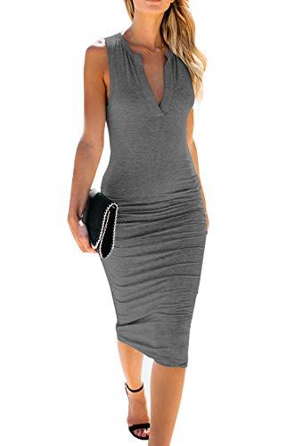 AELSON Women's Sleeveless V Neck Ruched Bodycon Midi Tank Dress Dark ()