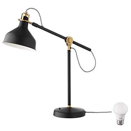 Ikea Ranarp Work Lamp and Bulb Bundle-Includes Ikea Ranarp Work Lamp and LED Bulb (Black)