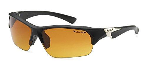 Xloop HD Polycarbonate Unisex Half Frame Outdoor Sport wrap Running Sunglasses, Black - Sunglasses Polish