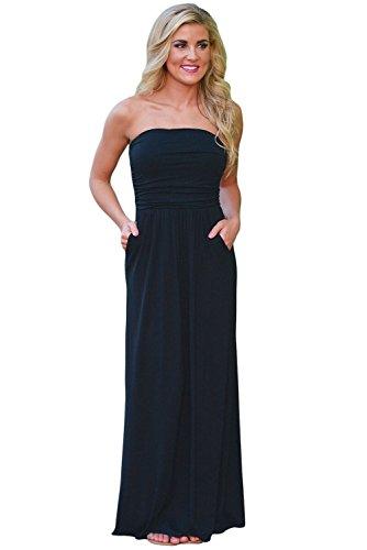 Queen Area Womens Print Bohemian Long Dress Strapless Maxi Boho Dress