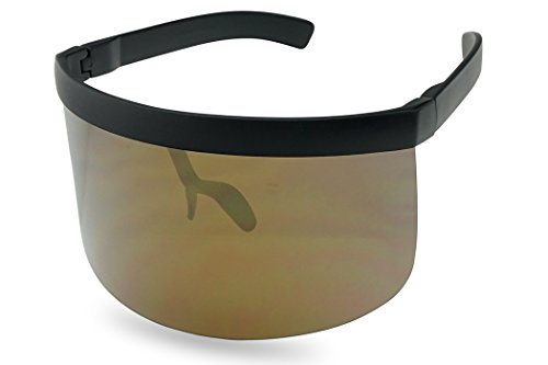 Matte Black Retro Futuristic Single Shield Color Oversized Visor Sunglasses (Matte Black, Bronze Mirror) ()